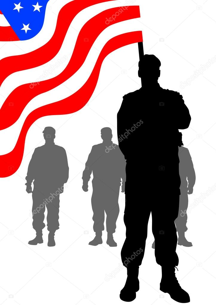 Soldiers under flag