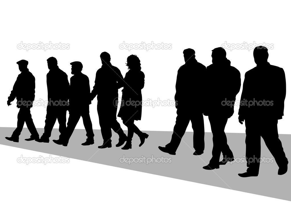 Открытка с толпой людей