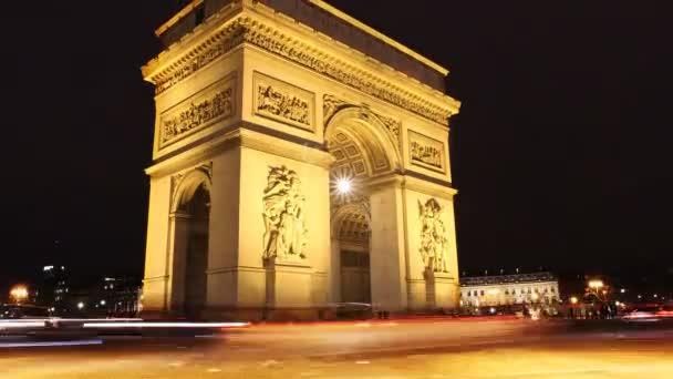 larco di trionfo di notte. Time-lapse di Parigi