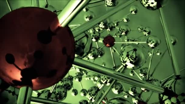 absztrakt molekuláris szerkezete a kamera forog. absztrakt kilátás molekulák. 3D-s renderelés sugárkövetéssel textúrák.