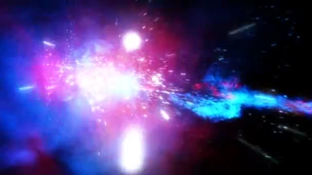 Hluboký vesmír. létající prostřednictvím hvězdného pole ve vesmíru. zářící hvězdy a plynových mračen