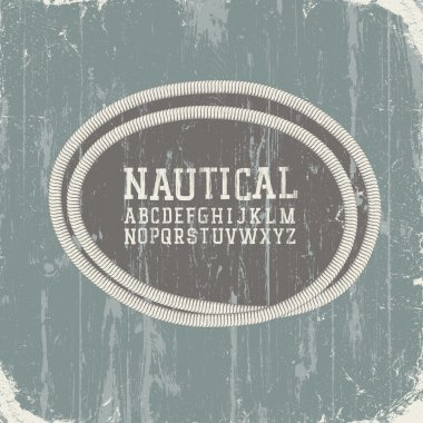 Vintage nautical card with retro alphabet. Vector, EPS8
