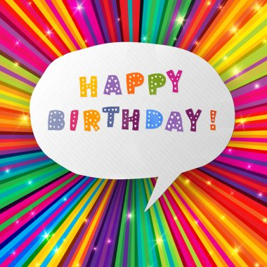 Happy birthday card on colorful rays background. Vector, EPS10