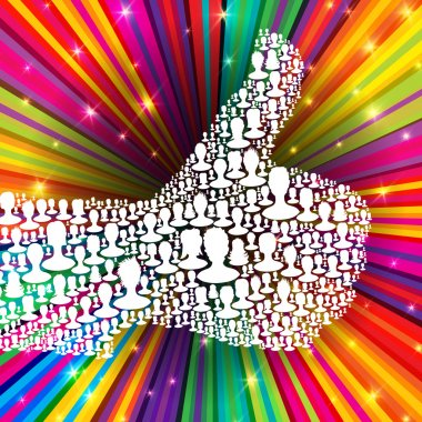 Thumb up symbol on colorful rays background. Composed from many
