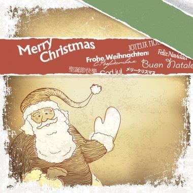 Retro Santa Claus greetings in different languages. Vector, EPS1