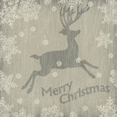 Photo Christmas deer with snowflakes on wooden texture. Vector illustr