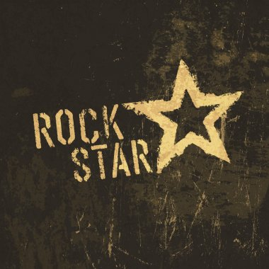 Rock star grunge icon. With stained texture, vector