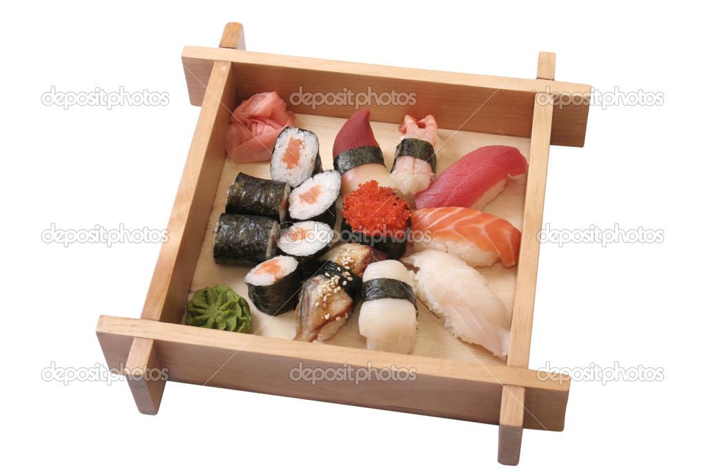 satz von sushi mit verschiedenen arten von meeresfr chten stockfoto pil7615 19092183. Black Bedroom Furniture Sets. Home Design Ideas