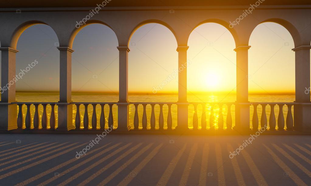 Columns on the sunset