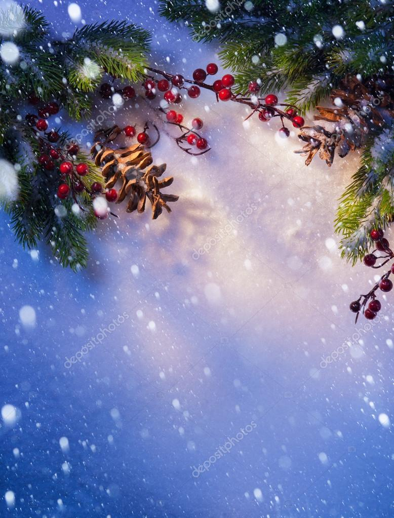 Art Blue snow Christmas background, frame of fir branches