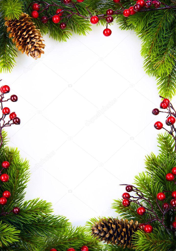 Cornici Foto Di Natale.Arte Cornice Di Natale Con Abete E Agrifoglio Berry Su Carta