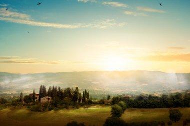 Art morning Tuscany - scenic landscape, Italy stock vector