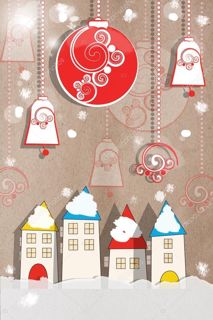 Декоративная открытка к новому году