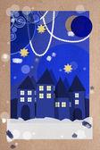 Ünnepi karácsonyi falu üdvözlőlap