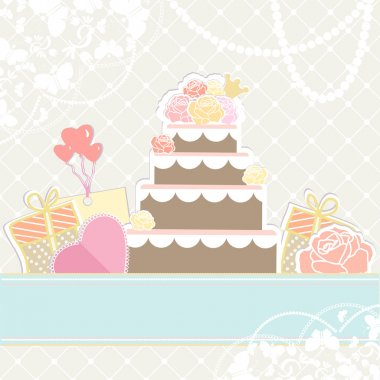 Wedding or birthday cake with gifts