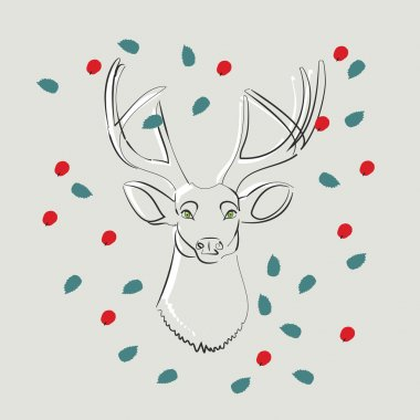 Deer with green eyes with leaves and berries