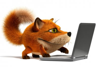 Fox using a laptop stock vector