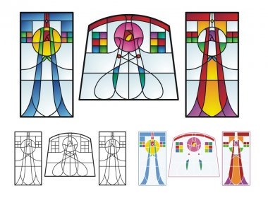 Art Deco stained glass patterns