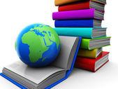 Fotografie Bücher mit Globus
