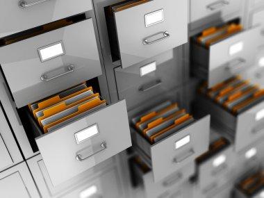 Business archive in folders, 3d illustration stock vector