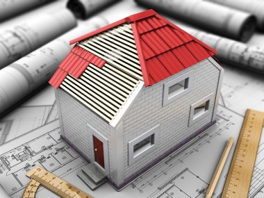 layout of house with red roof