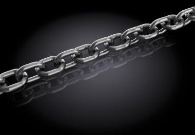 3d illustration of metal chain over dark background stock vector