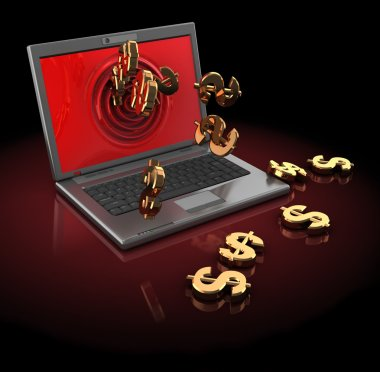 Laptop computer with dollar signs