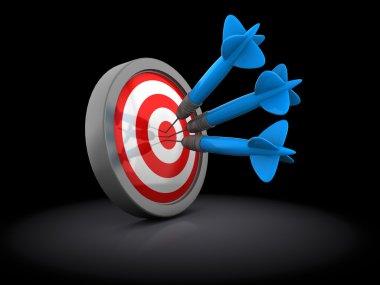 Three darts in target