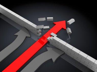 Arrow breaking wall