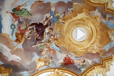 "Картина, постер, плакат, фотообои ""fresco ceiling at st. peter 's church in munich, germany фрески фресок"", артикул 14676133"