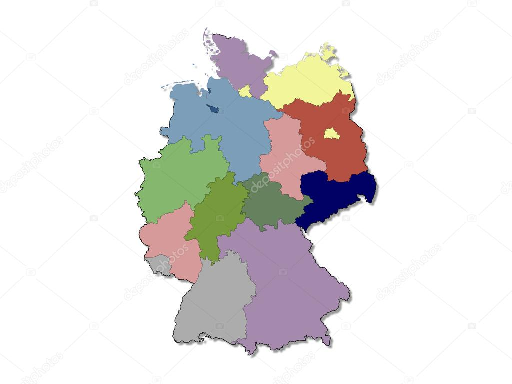 regions map of germany stock photo