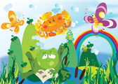 žáby v rybníku