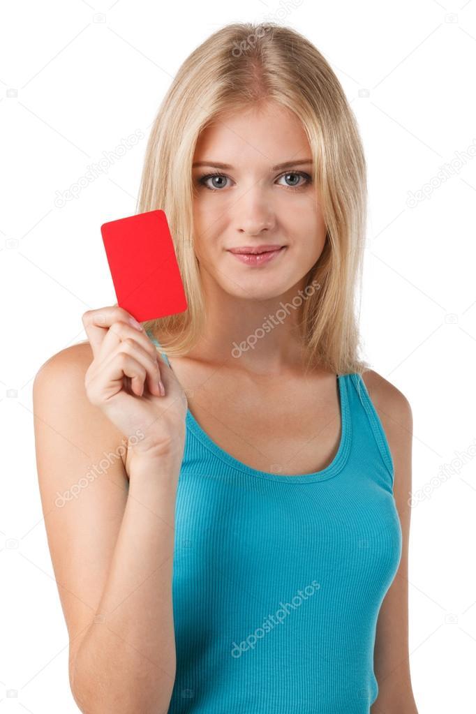 smiling woman holding credit card stock photo pavel kolotenko