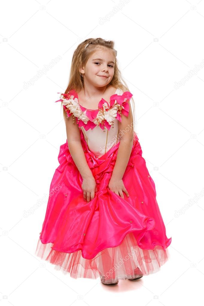 Girl in pink princess dress