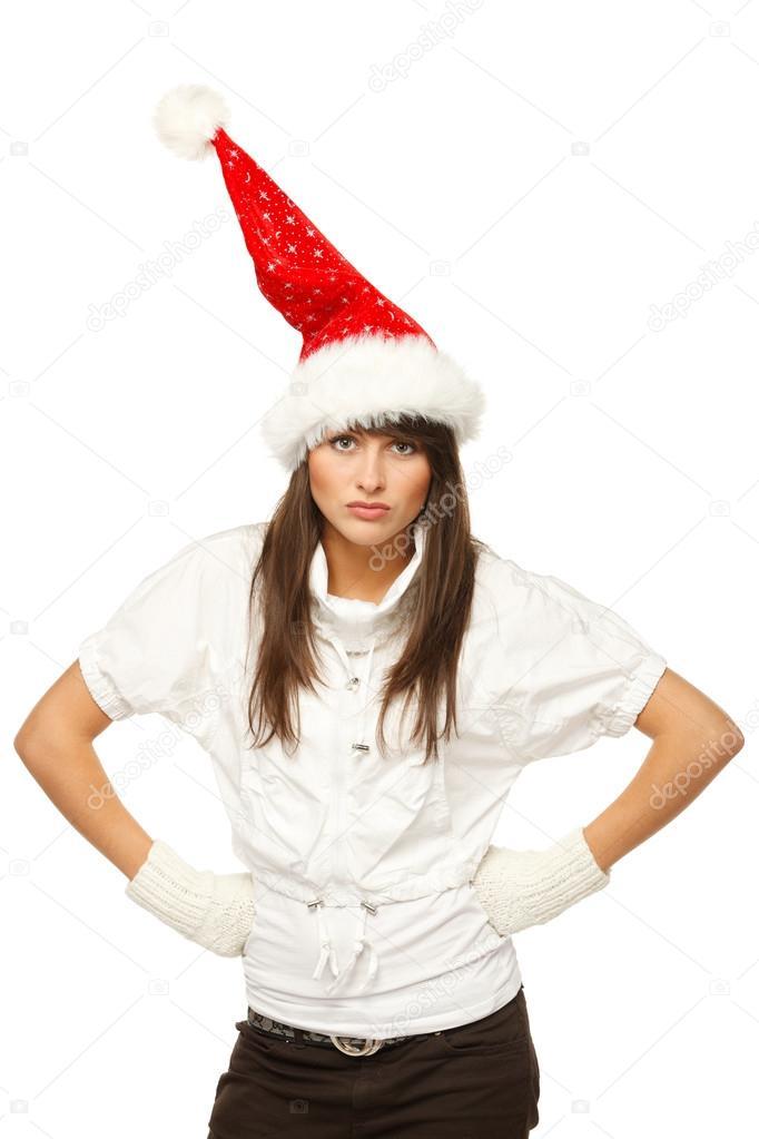 Angry girl in Santa hat
