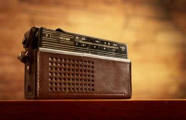 retro radio on wall background
