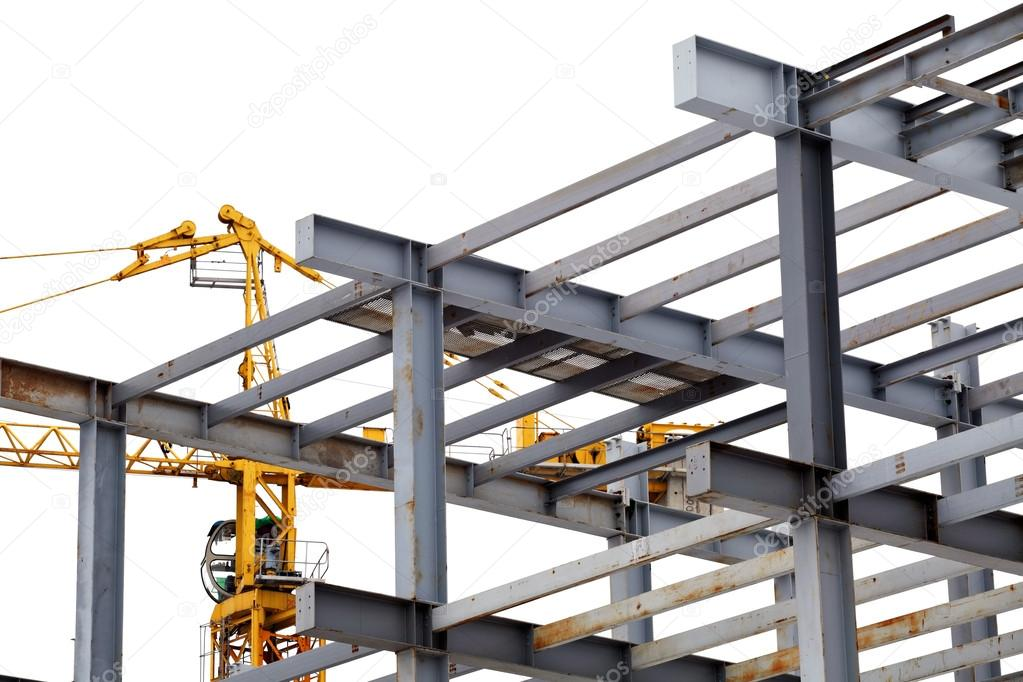 steel construction with girders isolated