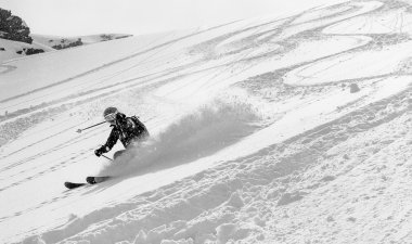 Woman skier in deep snow