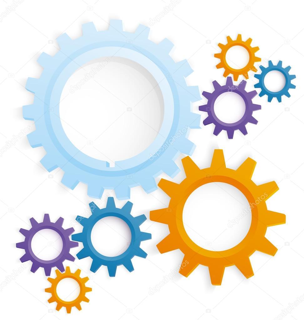 Cog wheels colored vector