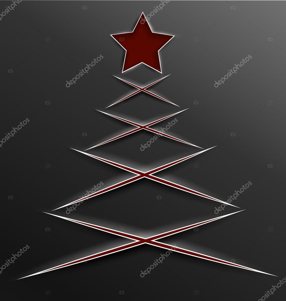 Kerstboom Papier Gesneden Lijnen Kruis Stockvector C Zebra Finch