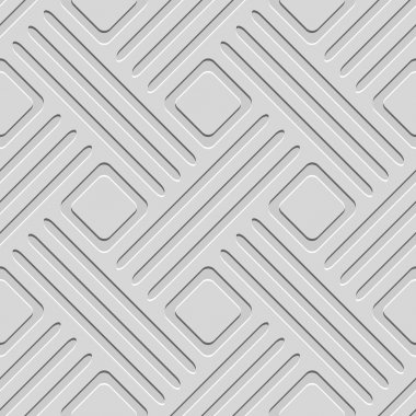 Seamless abstract background. Gray embossed lines with cut out of paper effect and realistic shadow on gray stock vector