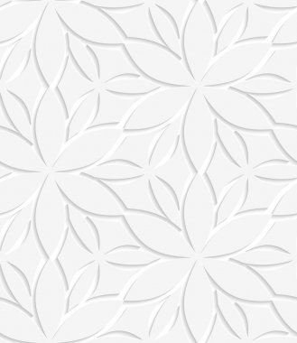 Abstract seamless background. White floral perforated with cut out paper effect and realistic shadows stock vector