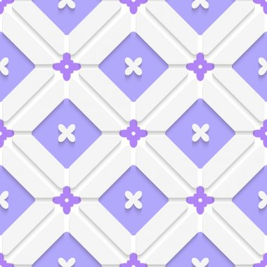Abstract 3d seamless background. Diagonal purple floristic in frame pattern with cut out of paper 3d effect stock vector