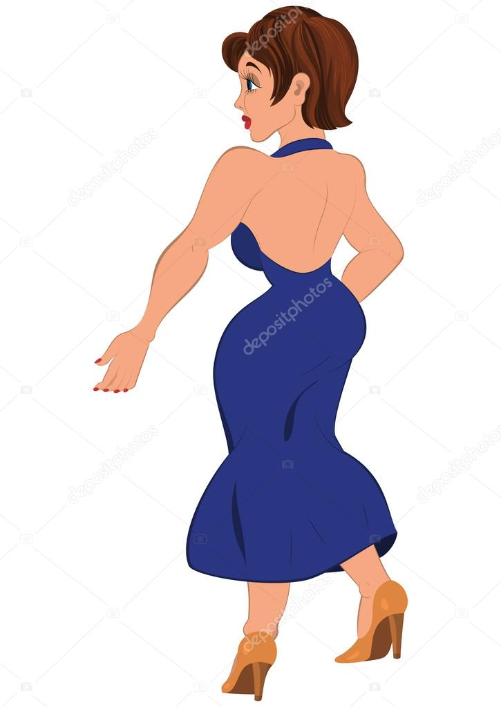 Femme Dessin Anime Vue Arriere Robe Dos Bleu Image Vectorielle