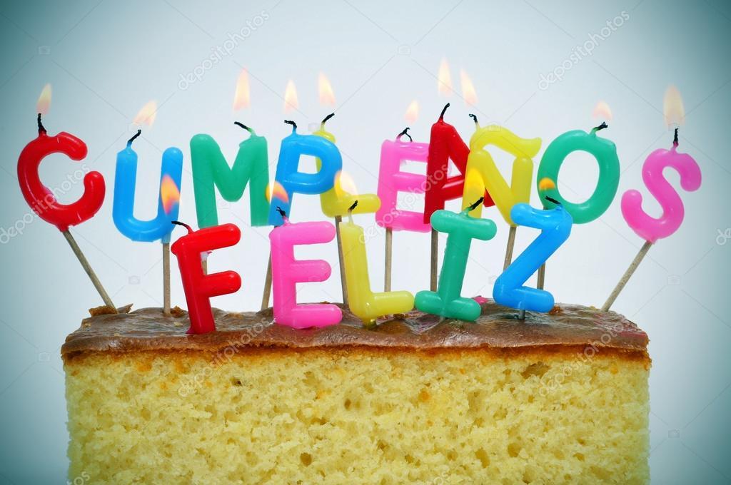 feliz cumpleanos, buon compleanno, scritto in spagnolo — Foto