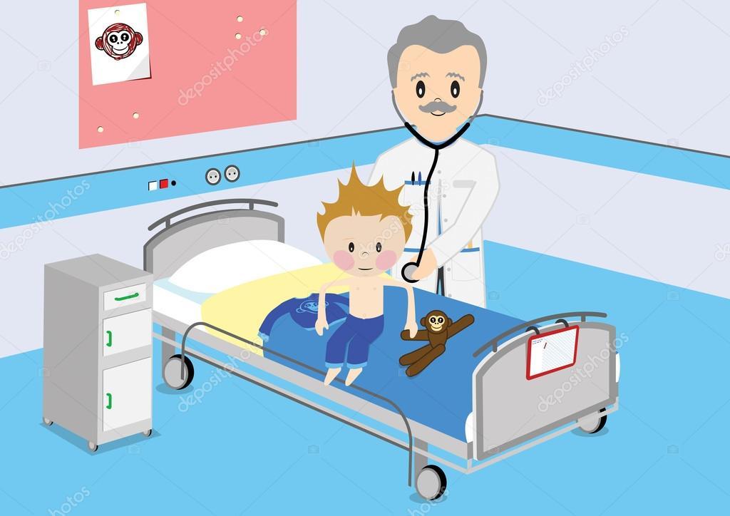 Child gets medical examination by doctor stock vector for Chambre d hopital