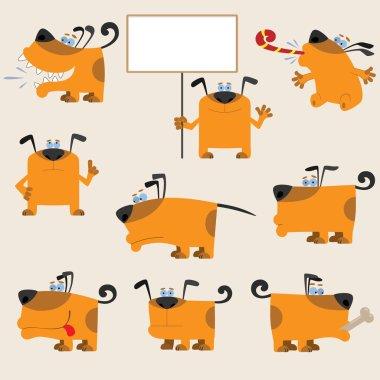 Cartoon yellow dog set