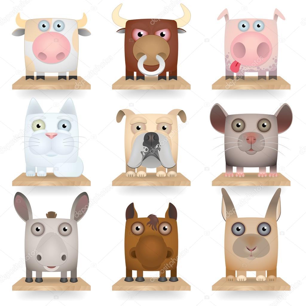 Domestic animals icon set