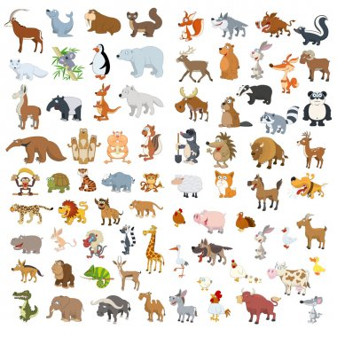 Extra big vector animals and birds set stock vector