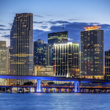 CIty of Miami Florida, illuminated business and residential buil